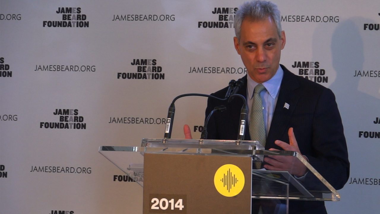 Webcasting Mayor Rahm Emanuel at the 2014 James Beard Awards Nomination Ceremony